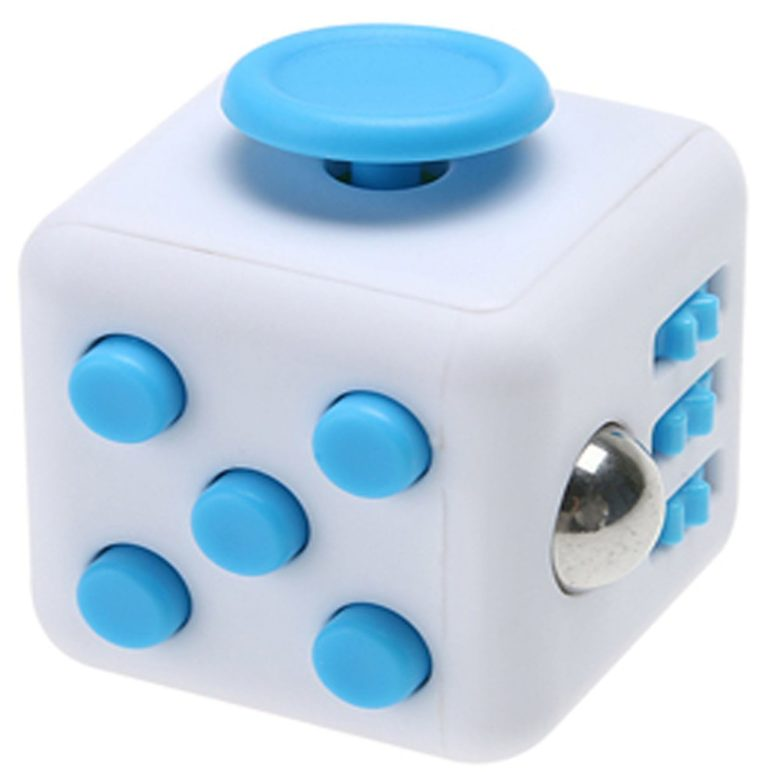 Fidget Cube White With Blue Buttons